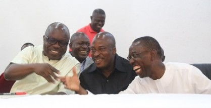 from left; Governor Emmanuel Uduaghan of Delta State, Delta State PDP chairman, Mr. Edwin Uzor and Senator Ifeanyi Okowa, during a PDP Stakeholders meeting held in Government House, Asaba.